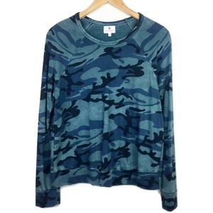 Sundry Blue Camoflauge Pullover Top